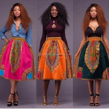 85158b66d289 Femmes Dashiki Africaine Hippie Patineuse Taille Haute Évasée Jupe courte  Plissée Robe Patineuse Taille Haute jupe