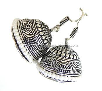 7b4f59c49 Silver Plated Oxidized Jhumka Dangler Earring-Wholesale Oxidized Silver  Plated Oxidized Big Jhumka Pearl Beads