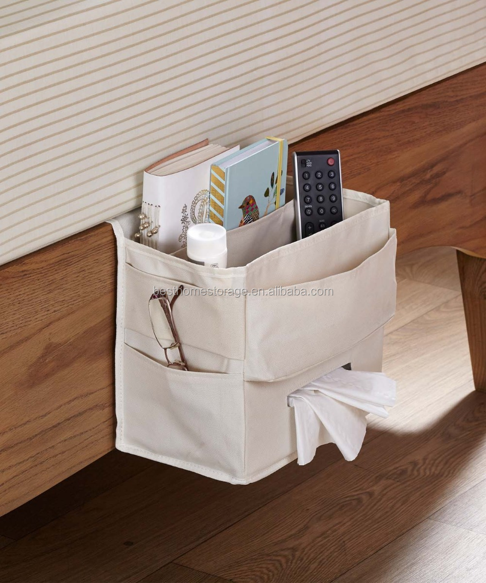 Green polyester fabric bedside tissue and books organizer,bedside caddy,bedside  storage bag