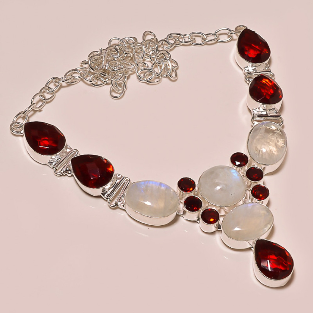 RAINBOW MOON STONE WITH MOZAMBIQUE GARNET 92.5 STERLING SILVER NECKLACE