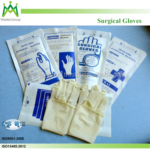 powder free textured Malaysia manufacture pure rubber surgical sterile latex free gloves