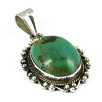 Amazing !! Oval Shape Turquoise Stone Bezel Silver Pendent Jewelry, Handmade Silver Jewelry, Silver Jewelry Manufacturer