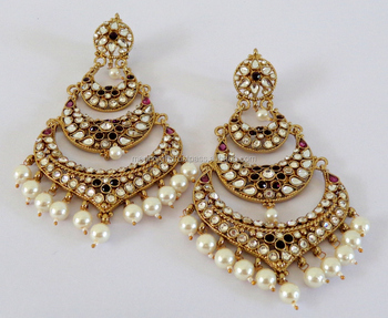 Whole Las Chandelier Kundan Long Earring Stani Bridal Oversize Imitation Indian Pearl