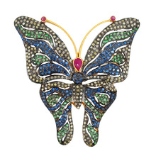 Butterfly design 14k gold pave diamond brooch finding connector 925 silver jewelry ruby tsavorite sapphire gemstone brooch