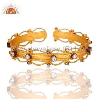Handmade Party Wear Cz Gemstone Cuffs New Designer S Bracelets Manufacturers Of Gold Plated 925