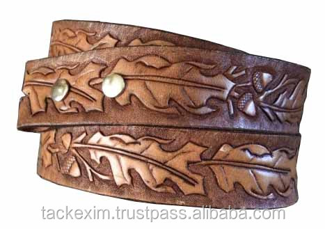 Leaf and acorn hand tooled WESTERN leather belt