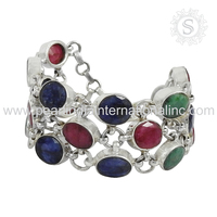 Fluorescence multi gemstone bracelet for women 925 sterling silver jewelry bracelet handmade bracelet wholesaler