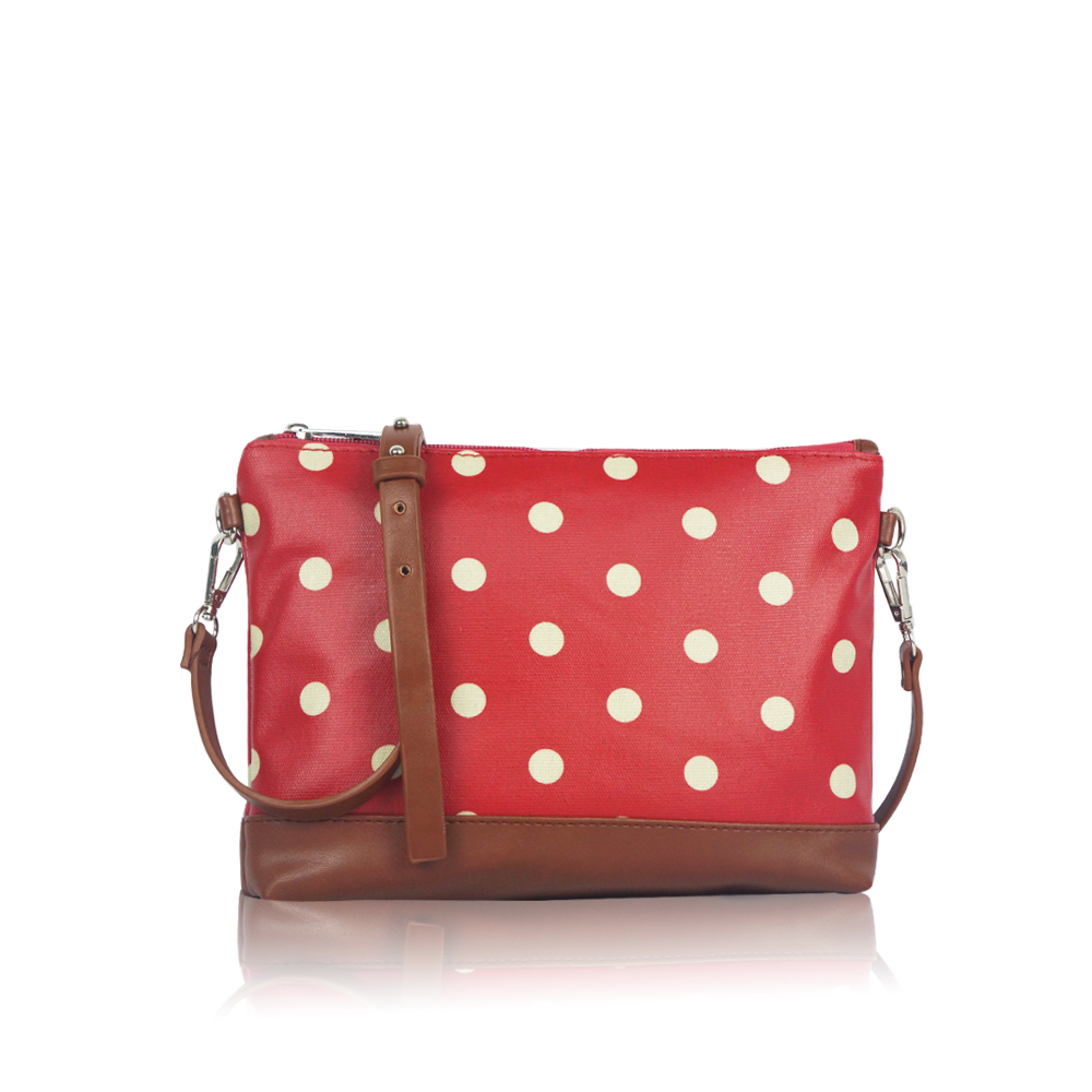 Wholesale Women Travel Handbag Girls Casual Polka Dot Canvas Mini Cross Body Bag