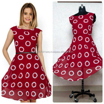 b3e162c2861 2017 Latest Design Digital Print Women Cherry Red Western Dress Casual Dress
