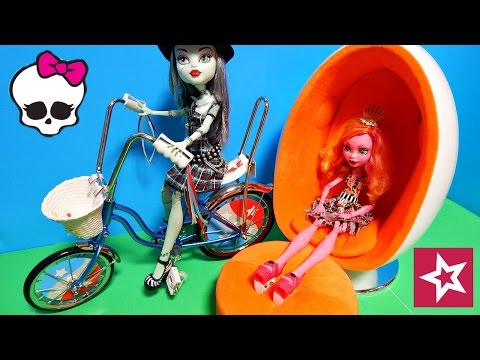 American Girl Doll Egg Chair & Julie Albright's Banana Seat Bike w/ Monster High Too Toy Review
