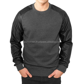 ced43ed48ece New men s fashion designs wholesale terry fleece crewneck pullover  sweatshirt with leather sleeves