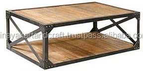 Retro Modern Style Iron Wooden Coffee Table Industrial Furniture Buy Indian Style Coffee