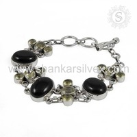 Semi Precious Multi Stone Jewelry Bracelet Handmade Women Silver Jewelry Exporter