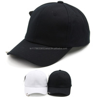 Korea best quality baseball cap with metal ring on the brim for fashion ans sport