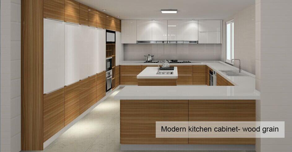 Modern Kitchen Cabinet Wood Grain