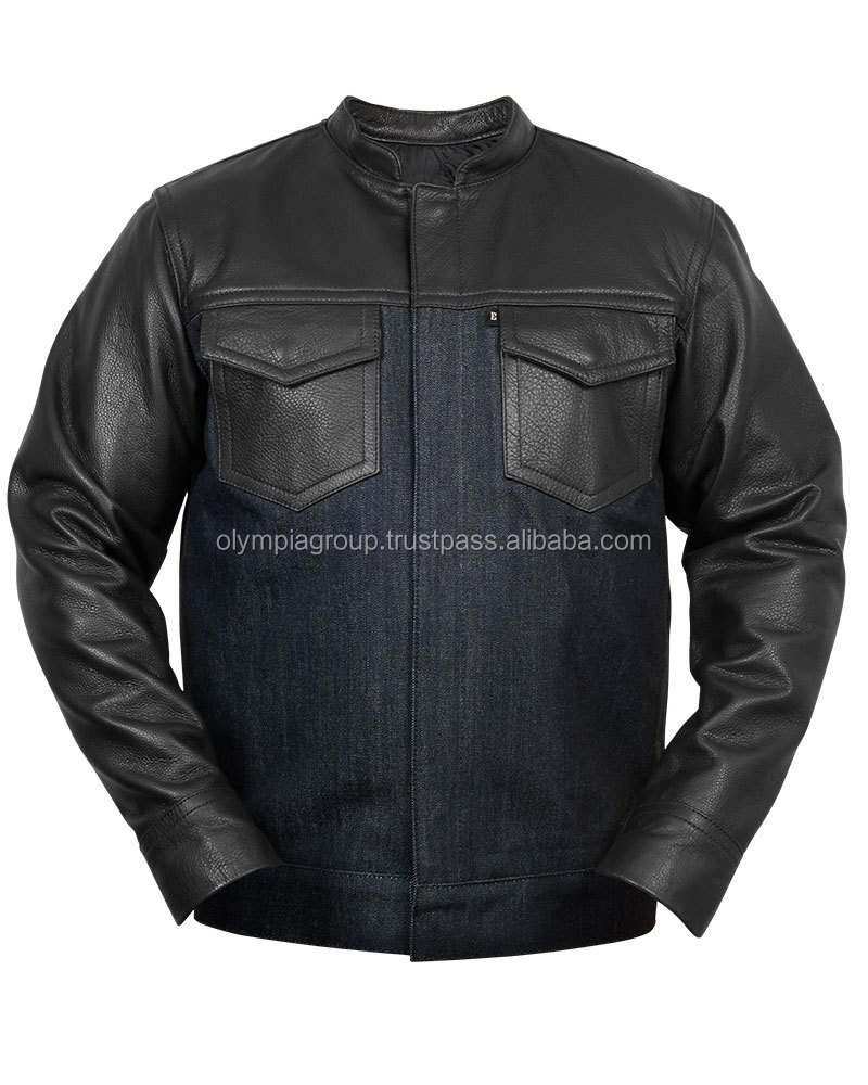 Leather Motorcycle Denim Jeans Biker Jacket