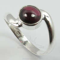 Wholesale Store ! 925 Solid Sterling Sliver Fashion Genuine GARNET Round Cabochon Gemstone Trendy Ring Every Sizes Best Gift