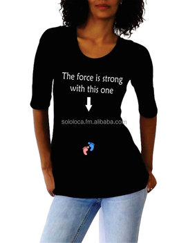 "c3f5b3b6 Wholesale Halloween "" The force is strong with this one"" design maternity  clothes,"