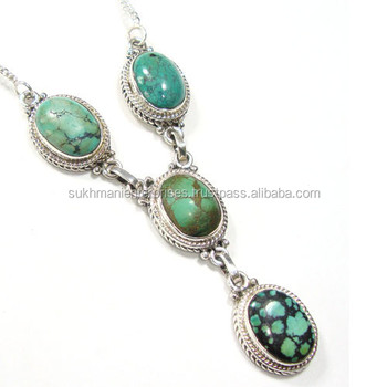 Tibetan necklace Turquoise jewelry wholesale 925 silver necklace