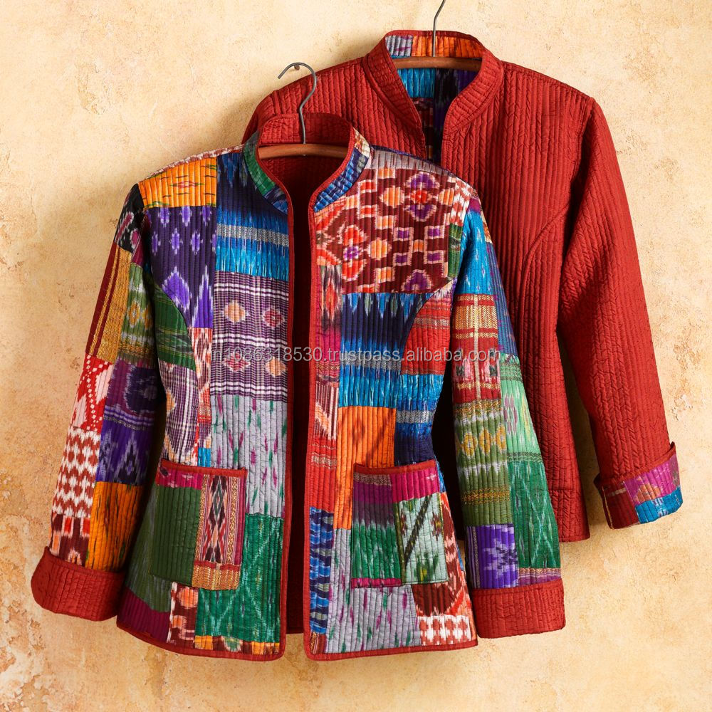 Silk Patola Kantha Jacket Long Floral Sleeves ladies Reversible Coat Gudri Jacke Indian Patchwork Vintage Design kantha Quilted