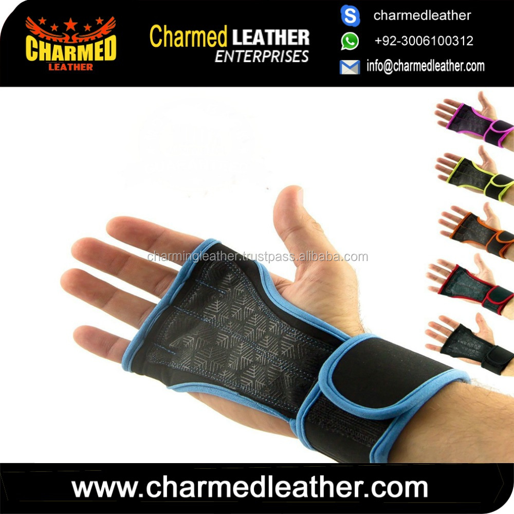 Workout Fitness GYM Weight Lifting Crossfit Gloves Leather Hand Grips Pad Palm Protect Wrist Support Wrap