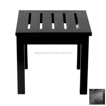 Square Shaped Small Corner Table Wrought Iron Decorative Black Metal