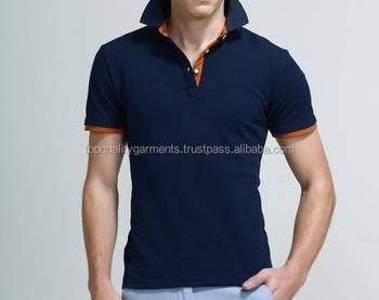 61fdc491 Blue Orange Collar Formal Cool T-Shirt Boys Mens Simple Tee Fashion Casual  Quality New