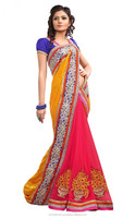 Indian Stone Worked Georgette Cotton Saree