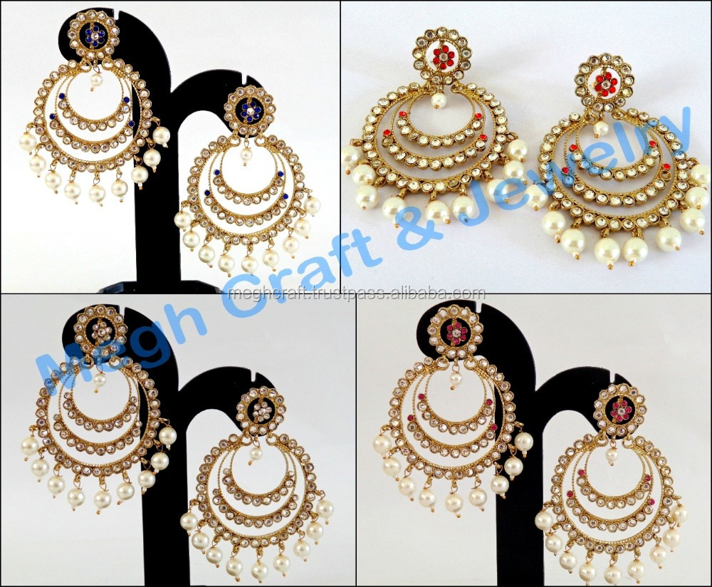 ae94d8118b17b Pakistani Jewelry-wholesale Kundan Chandelier Earrings-indian Traditional  Earrings-bollywood Style Pearl Big Earrings - Buy Fashion Big Pearl ...