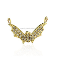 Yellow Gold Pave Diamond Bat Connector Fashion Jewelry 14k Gold Findings Wholesale