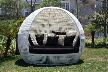 Round White Wicker Rattan Daybed Outdoor Furniture Garden Patio Sunbed