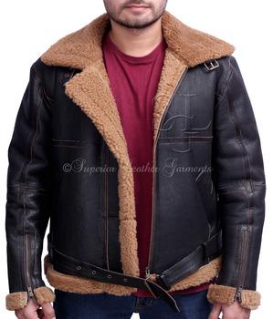 2a4705428 B-3 Real Sheep Skin Leather Brown Aviator Pilot Flying Jacket - Buy Pilot  Winter Jackets,Men Pilot Jacket,Winter Aviator Leather Jacket Product on ...