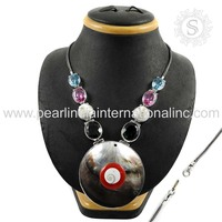 Precious combination shell glass gemstone silver necklace 925 sterling silver jewelry wholesale silver necklace manufacturer