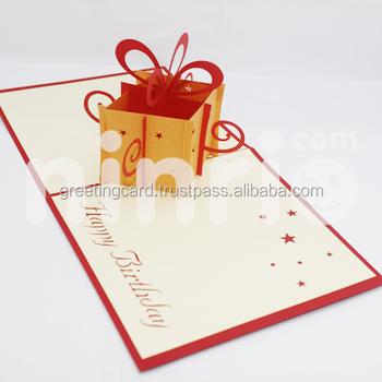 Gift Box Pop Up Card Handmade Greeting