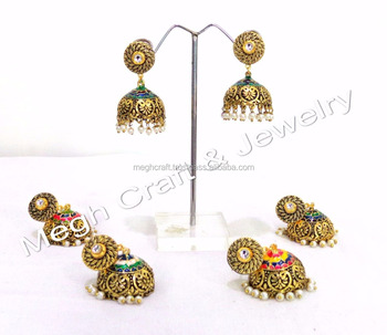 Wholesale chandelier earringssmall jhumki with stonepearl bali wholesale chandelier earrings small jhumki with stone pearl bali latest oxidize earring aloadofball Image collections
