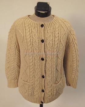Womens Kinvara Wool Hand Made Decent Irish Fishermans Hand Knit