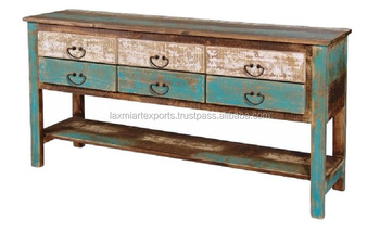 Indian gerecycled teruggewonnen hout lade console tafel met