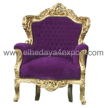 Baroque Style Armchair Purple Velvet And Gold Wood