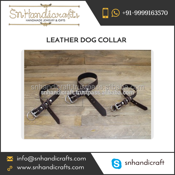 Hand Crafted Premium Quality Durable Leather Dog Collar at Wholesale Rate