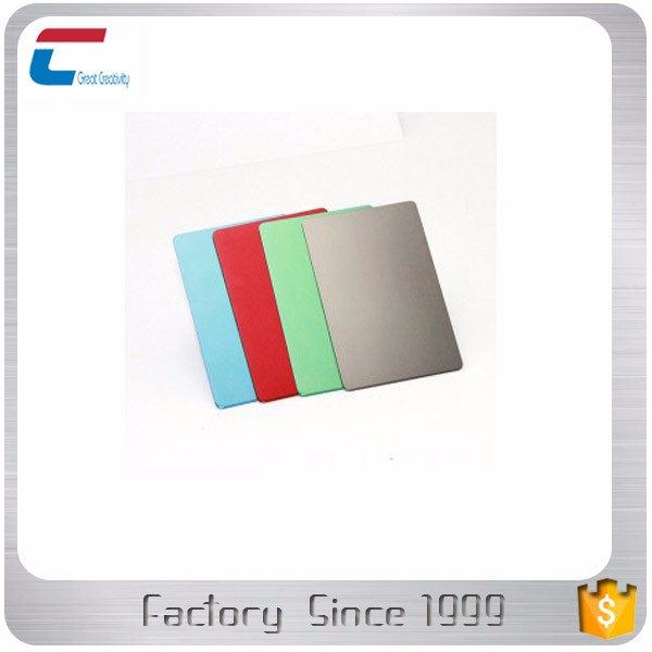 High quality wholesale standard anodized blank aluminum cards