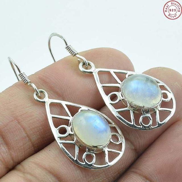ba5964ddd676 Popular diseño 925 plata esterlina azul brillo Arco Iris moonstone piedras  preciosas proveedor en línea pendiente
