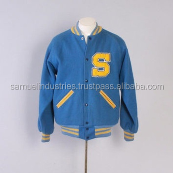 Men S Sky Blue Wool Swimming Varsity Jacket New Style Best