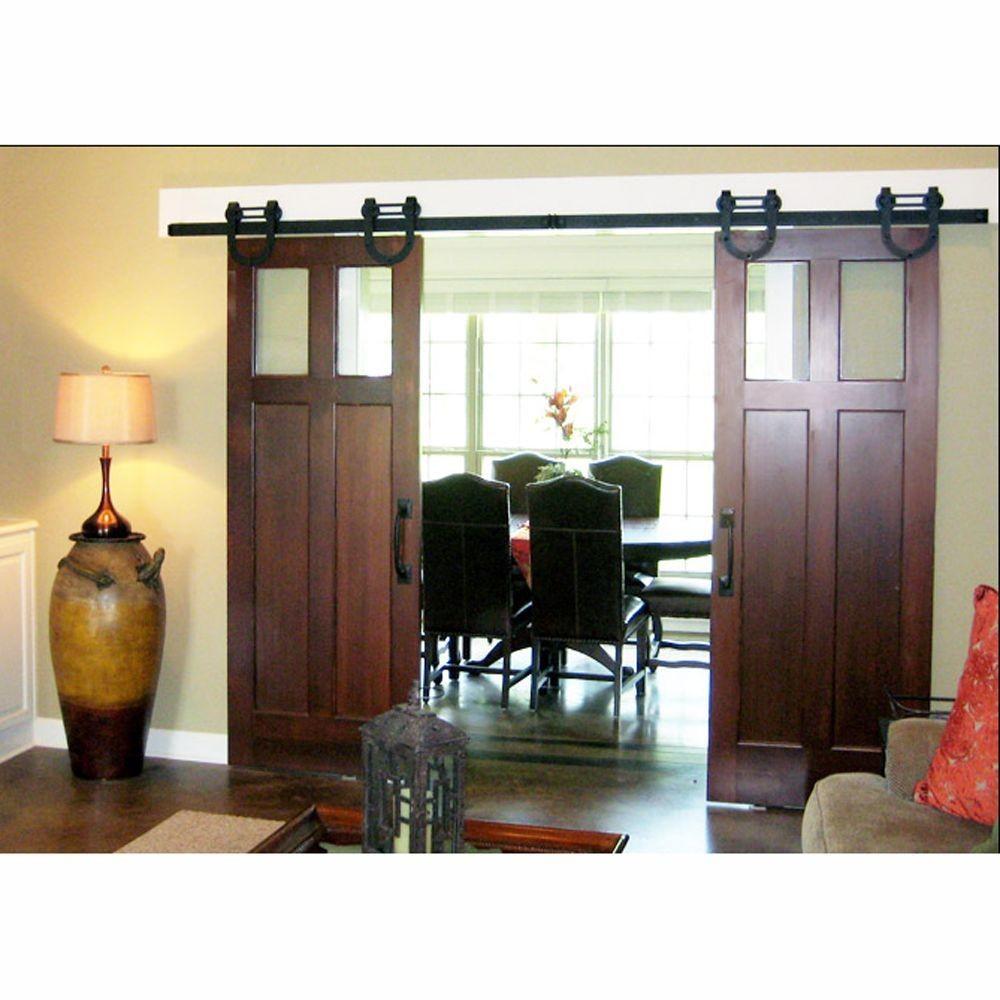 Modern full lite rain glass stained pine interior sliding barn door with sliding door hardware kit