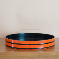 Hottest selling high quality eco-friendly original round lacquer wooden food serving tray from Viet Nam
