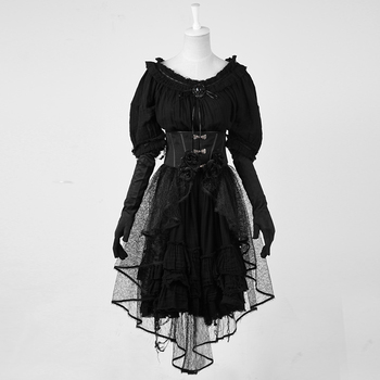 Gothic Black Dolly Dress With Transparent Overskirt And Gloves Lq