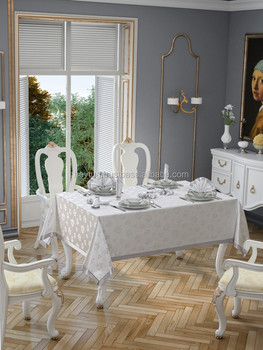 LUREX TABLECLOTHS / Elegant Polyester Tablecloth With 8 Napkins, In Gold Or  Silver / Made