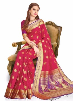 3ae41247003589 Meghdoot Traditional Art Silk Saree Sari Red and Purple Colour Wholesale