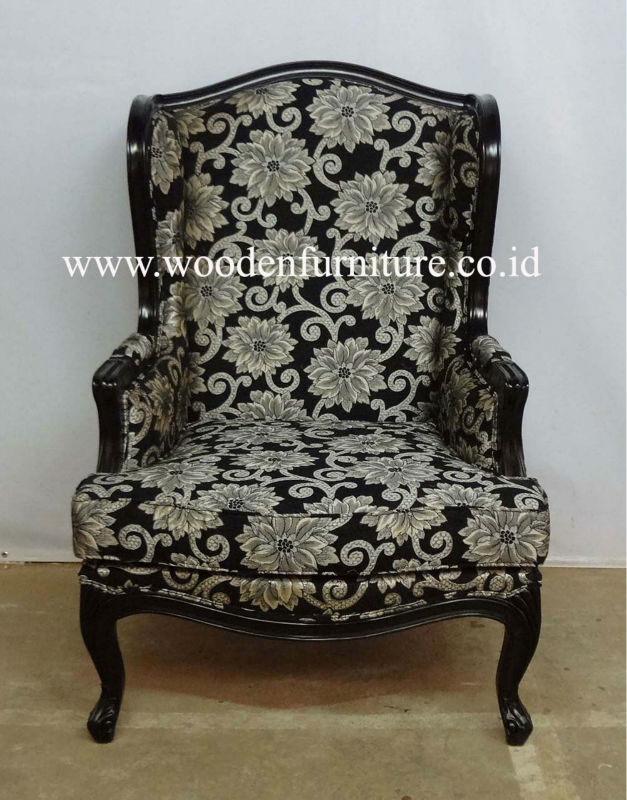 Antique Reproduction Wing Chair French Style Living Room Sofa Mahogany Painted Sofa Classic European Home Furniture