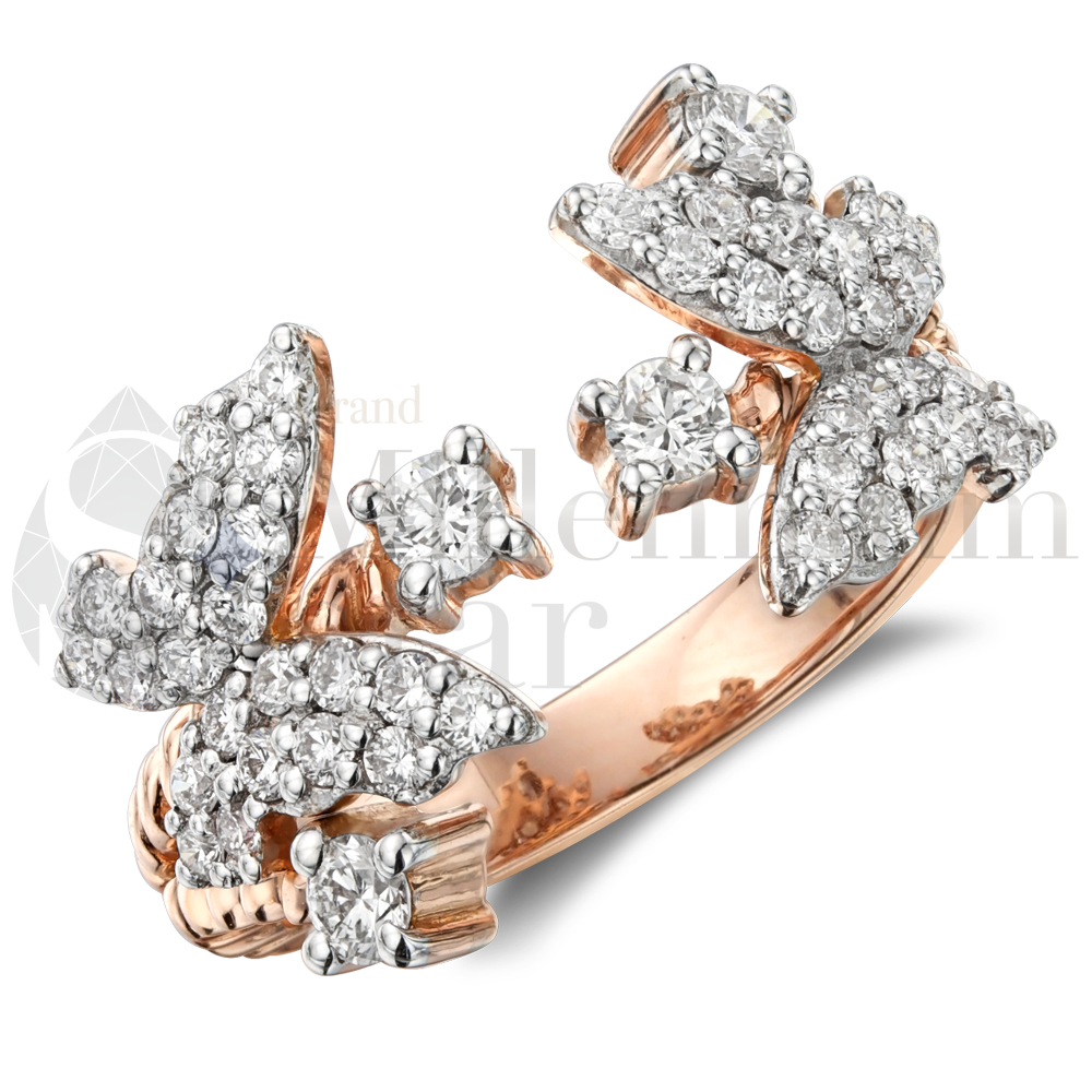 Rose Gold Couple Butterflys Diamond Ring, Jewelry 18K