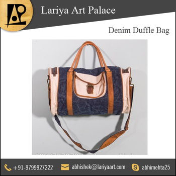 d25756f3138f High Quality White And Blue Denim Duffle Bag - Buy Denim Bags For ...